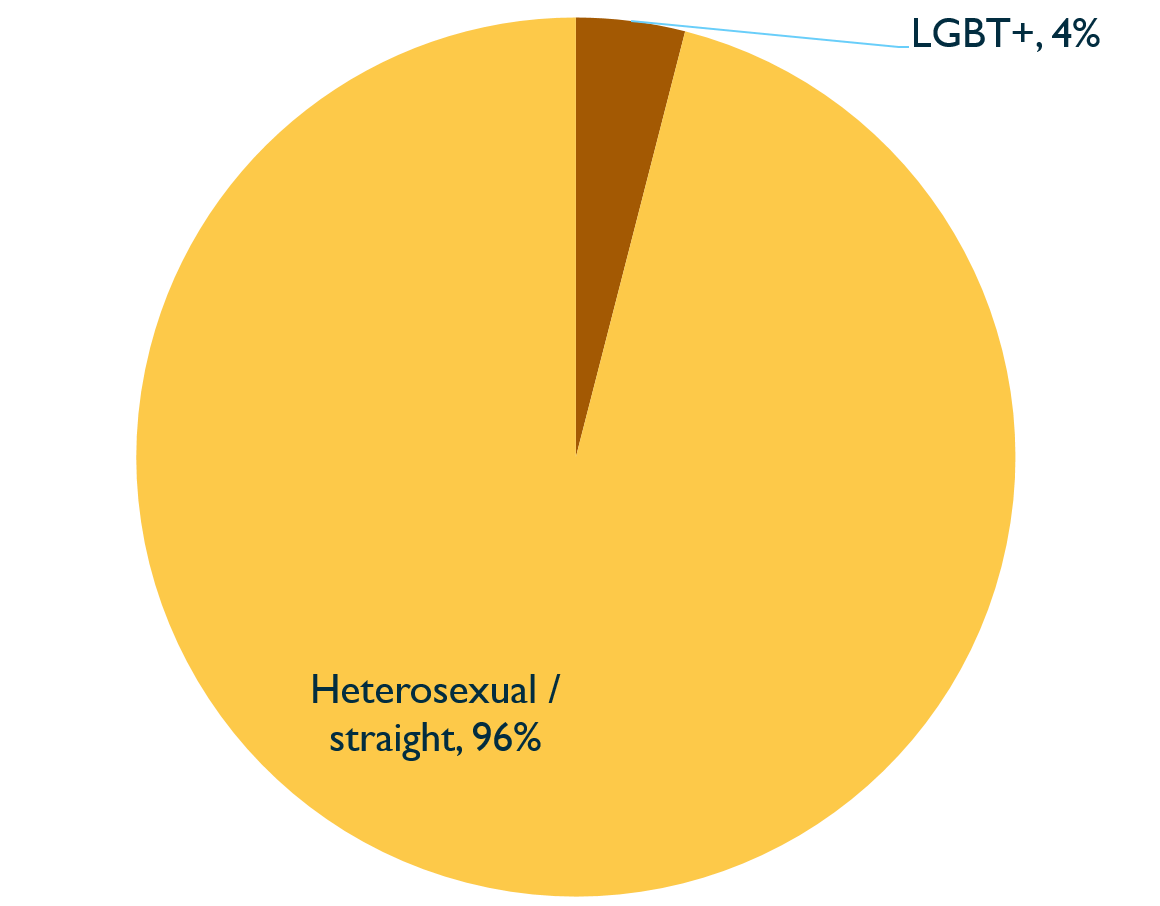 Pie chart showing sexual orientation of Inquiry staff, 2020. Described under 'Description for Chart 8'.